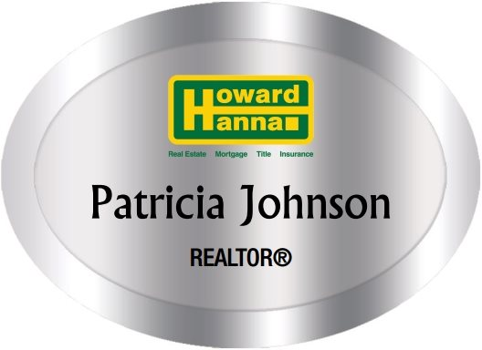 Howard Hanna Name Badges Oval Silver (W:2